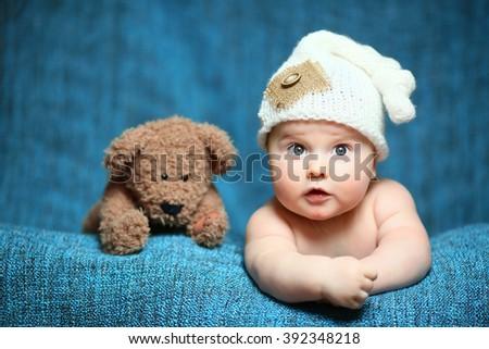 newborn cute boy - stock photo