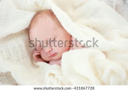 newborn daughter little baby sleeping - stock photo