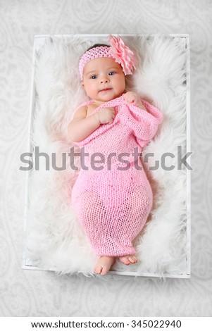 newborn girl - stock photo