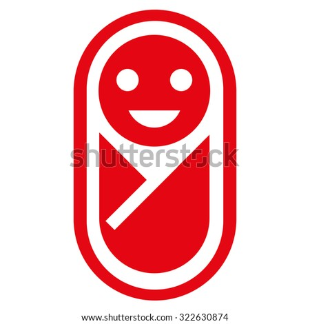 Newborn glyph icon. Style is flat symbol, red color, rounded angles, white background.