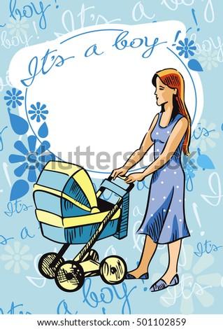 Newborn greeting baby boy card raster stock illustration 501102859 newborn greeting baby boy card raster clip art m4hsunfo