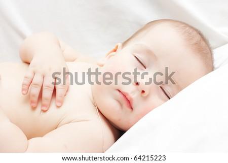 Newborn sleeping baby - stock photo