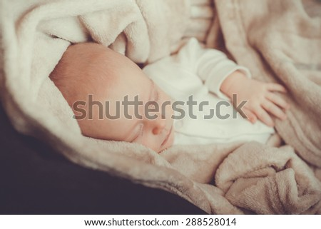 Newborn sleeping, closeup