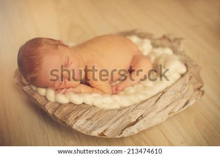 Newborn sleeping on Soft Blanket - stock photo