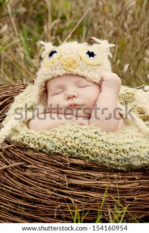 Newborn  sleeping outside in a owl costume and nest. - stock photo