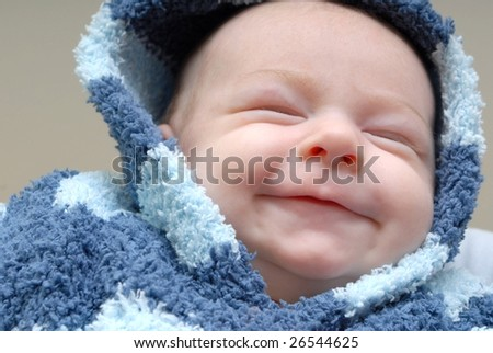 newborn smiling - stock photo