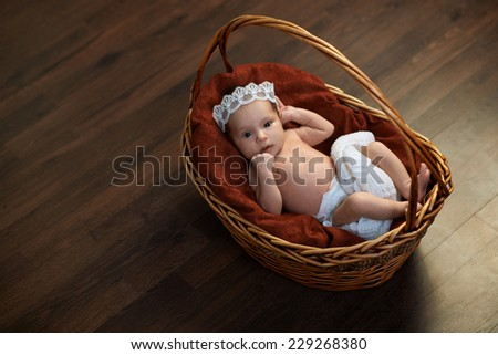 newborn with a crown in a basket on the floor