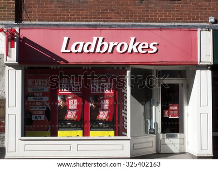 Newbury, Northbrook Street, Berkshire, England - October 10, 2015: Ladbrokes betting shop, British betting and gaming company, company was founded by Schwind and Pendleton in 1886