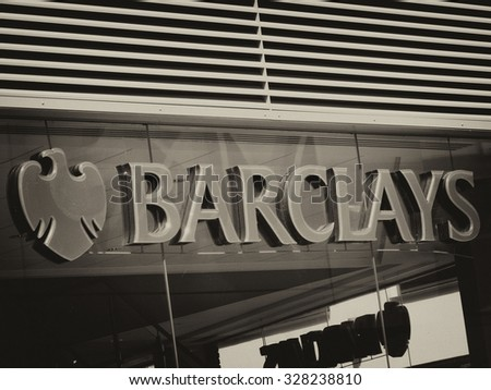 Newbury, Parkway Shopping Centre, Berkshire, England - August 07, 2015: Bank name and sign over local branch office located in the Parkway Shopping Centre built in 2011