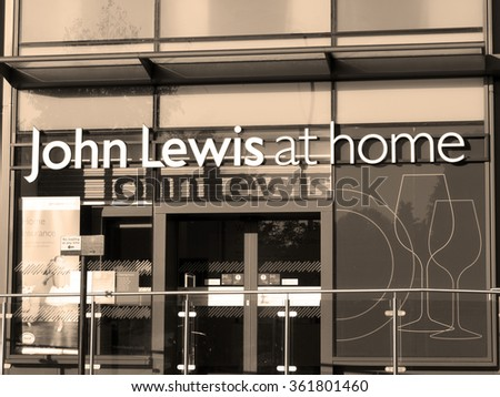 Newbury, Parkway Shopping Centre, Berkshire, England - October 10, 2015: John Lewis at home department store, founded by John Lewis in 1864 as a drapery shop on Oxford Road London - stock photo