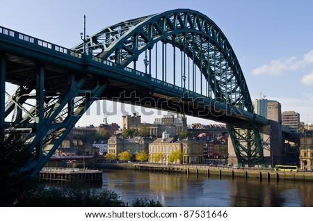Newcastle and the famous iconic landmark, The Tyne Bridge taken from Gateshead - stock photo