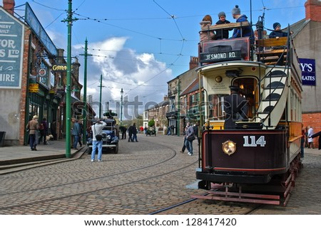 NEWCASTLE, ENGLAND - APRIL 5. The Great North Festival of Transport at Beamish Museum featured historic tramcars from Newcastle on April 5, 2012, Newcastle, England. - stock photo