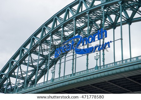 NEWCASTLE, ENGLAND - AUGUST 21: Tyne Bridge, Newcastle/Gateshead. A bridge that crosses the Tyne, taken on August 21th, 2016 at Newcastle, England. Great North Run ad is on Tyne Bridge.