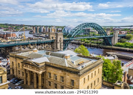 Newcastle, England - June 4: Newcastle riverfront pictured on June 4th, 2015, in Newcastle, England. Newcastle is the most populated city of the north of England.  - stock photo