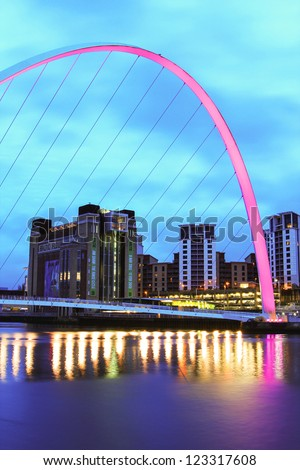 "NEWCASTLE, UK - DECEMBER 29: Newcastle's Millennium bridge, designed by the architectural firm Wilkinson Eyre, on the River Tyne is to lose it's painful ""harbourmaster"" piles in 2012. 29 December 2012"