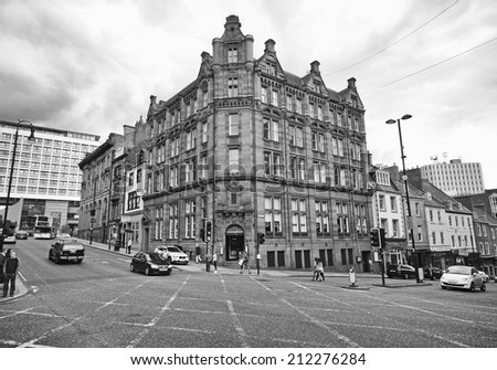 NEWCASTLE-UPON-TYNE , ENGLAND - AUGUST 20,2014: Building facade, Newcastle. It is the most populous city in North East England and the city lies at the urban core of the Tyneside conurbation