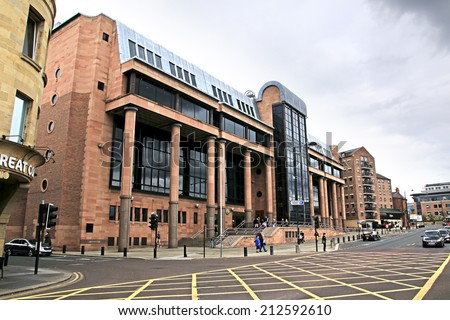 NEWCASTLE-UPON-TYNE, ENGLAND - AUGUST 20,2014: Law Courts, Newcastle. It is the most populous city in North East England and lies at the urban core of the Tyneside conurbation  - stock photo
