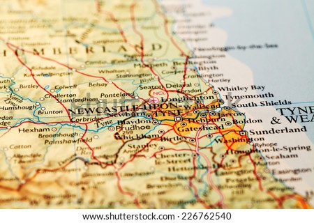 Newcastle upon Tyne, England on atlas world map - stock photo