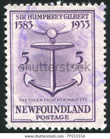 NEWFAUNDLAND  - CIRCA 1933: stamp printed by Newfoundland, shows Token from Queen Elizabeth I, circa 1933