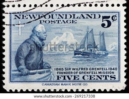 NEWFOUNDLAND - CIRCA 1941: A stamp printed by NEWFOUNDLAND shows image portrait of medical missionary Sir Wilfred Grenfell - founder of Grenfell Mission, circa 1941