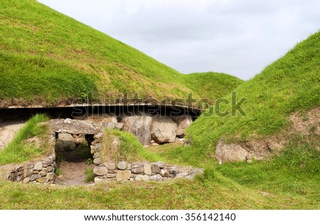Newgrange Megalithic Passage Tomb 3200 BC , County Meath, Ireland - stock photo