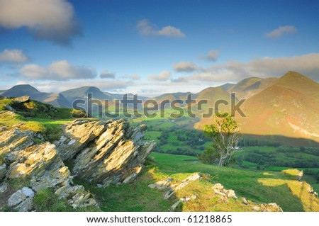 Newlands Valley and Derwent Fells from Cat Bells in the English Lake District