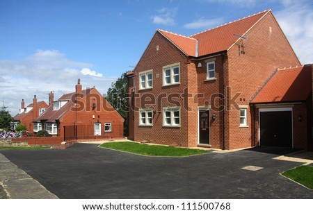 Newly built homes in Yorkshire UK - stock photo