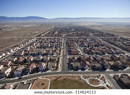 Newly built suburban neighborhood in the western USA.