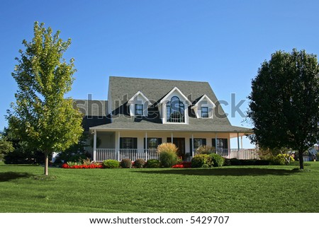 """Newly constructed """"farmhouse"""" in suburbs - stock photo"""