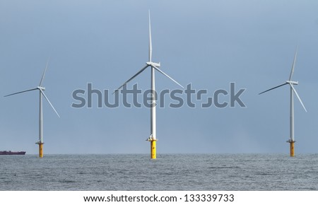 newly erected wind turbines off shore Redcar england UK