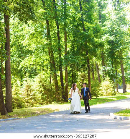 Newly married couple walk on park paths holding hands