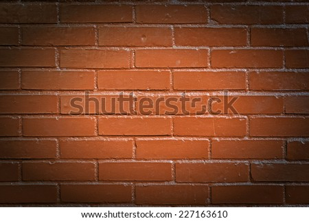 Newly painted red brick with vignette - stock photo