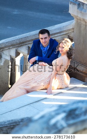 Newly wed couple outdoor on a summer day. - stock photo
