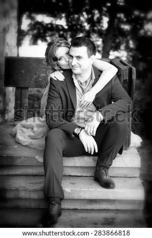 Newly wed couple outdoor on a summer day.