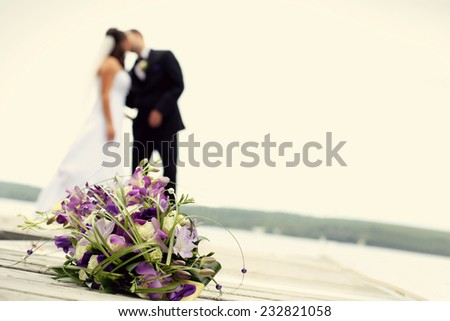 newly wed couple together - stock photo