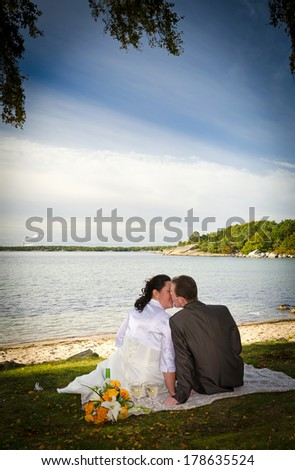 Newlyweds kissing portrait in vertical view