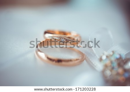 Newlyweds rings lie on a cushion for the rings and are awaiting the moment when they become a symbol of loyalty and family for two people in love. - stock photo