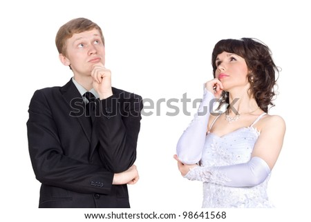 newlyweds think and looking at the ceiling - stock photo