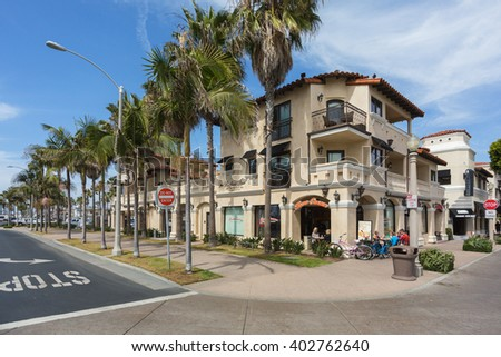Newport Beach, California, USA - March 20, 2014: a cafe with tourists and bicycles
