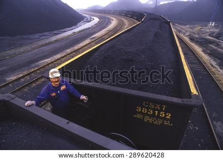 NEWPORT NEWS, VIRGINIA, USA - CSX coal cars at coal shipping terminal. March 6, 1992 - stock photo