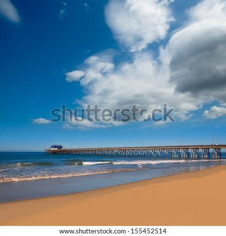 Newport pier beach in California USA surf spot - stock photo