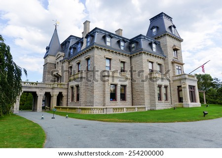 NEWPORT, RHODE ISLAND - AUGUST 1, 2013: Chateau-sur-Mer in Newport, Rhode Island as seen on July 19, 2013. It is the first of the grand Bellevue Avenue mansions of the Gilded Age mansions. - stock photo