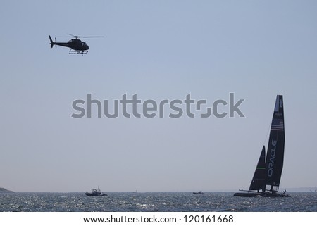 NEWPORT, RI - JULY 30: Oracle Racing during 2012 America's Cup World Series in Newport, RI on June 30, 2012. - stock photo