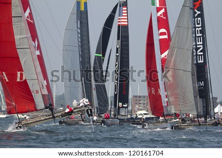 NEWPORT, RI - JULY 28:  Start of 2012 America's Cup World Series in Newport, RI on June 29, 2012. - stock photo