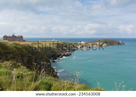 Newquay coast North Cornwall England UK - stock photo
