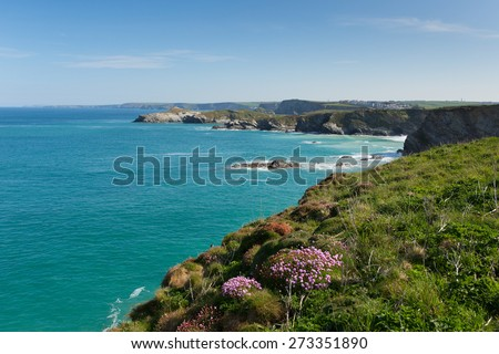 Newquay coast view North Cornwall UK beautiful Cornish coast in spring with blue sky and sea towards the North-East