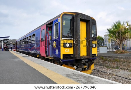 NEWQUAY - SEP 13: The Train arriving to Newquay on September 13. 2014 in UK - stock photo