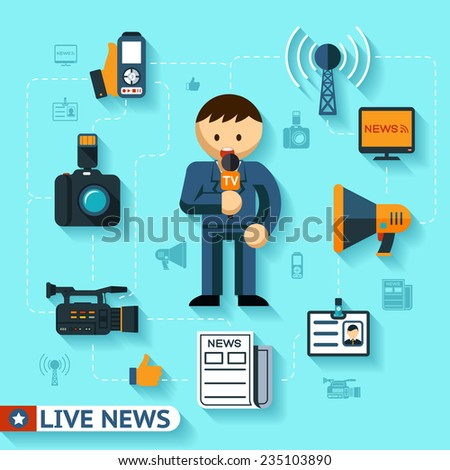 news and mass media concept, journalist and journalism flat icons - stock photo