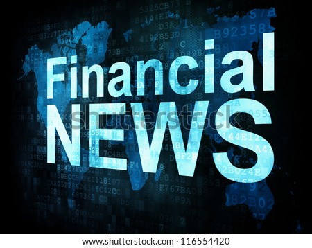 News and press concept: pixelated words Financial NEWS on digital screen, 3d render - stock photo