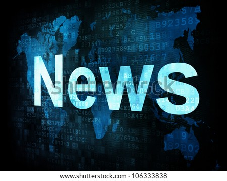 News and press concept: pixelated words News on digital screen, 3d render - stock photo